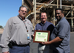 APS Ocotillo Plant Manager, Andre Bodrog and Environmental Scientist Derek Bresee received their VESP certificate from ADEQ's Ian Bingham